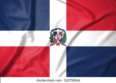 Dominican Republic flag on soft and smooth silk texture