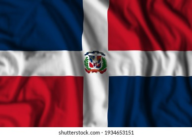 Dominican Republic flag realistic waving for design on independence day or other state holiday. 3D Illustration