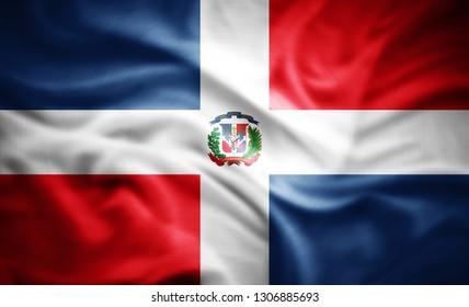 Dominican Republic flag of silk