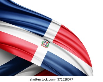 Dominican Republic  flag of silk with copyspace for your text or images and white background