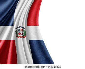 Dominican Republic  flag of silk with copyspace for your text or images and white background-3D illustration