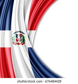 Flagge der Dominikanischen Republik mit Kopienraum für Ihre Texte oder Bilder und weißer Hintergrund-3D-Illustration