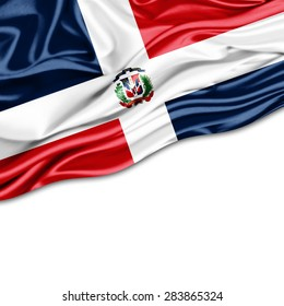 Dominican Republic  flag of silk and white background