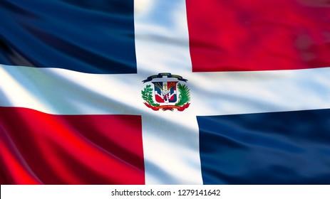 Dominican Republic flag. Waving flag of Dominican Republic 3d illustration. Santo Domingo