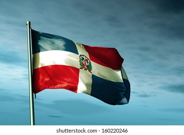 Dominican Republic flag waving on the wind