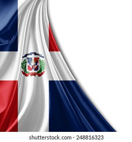 Dominican Republic flag and white background