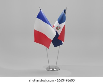 Dominican Republic - France Cooperation Flags, White Background - 3D Render