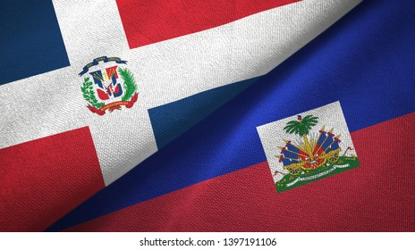 Dominican Republic and Haiti two flags textile cloth, fabric texture