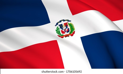 Dominican Republic National Flag (Dominican flag) - waving background illustration. Highly detailed realistic 3D rendering