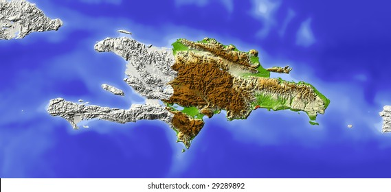 Dominican Republic. Shaded relief map. Surrounding territory greyed out. Colored according to elevation. Includes clip path for the state area.