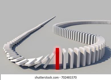 The domino effect in action (3d rendering)