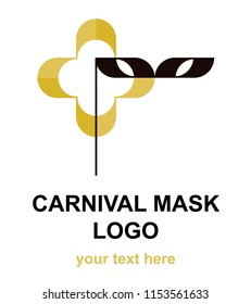 Domino mask with quatrefoil shape logotype template. Flat logo concept for a costume party, carnival, music or theater festival, or event agency. Raster design element isolated on white background.