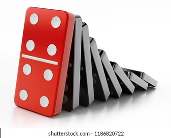 Domino pieces standing in a row. 3D illustration.
