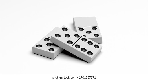 Dominoes game. Domino tiles white color with black dots isolated against white background. Business domino effect concept. 3d illustration