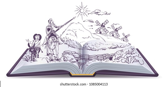 Don Quixote open book cartoon illustration. Spanish literature education