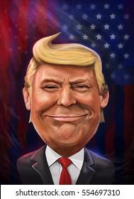 Donald Trump cartoon portrait illustrated by Erkan Atay. 11 January 2017.