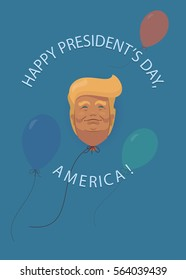 Donald Trump flat cartoon, Presidents' Day in USA also Presidents and President's Washington's Birthday greetings card Background. Can Be Used as Banner or Poster. Illustration
