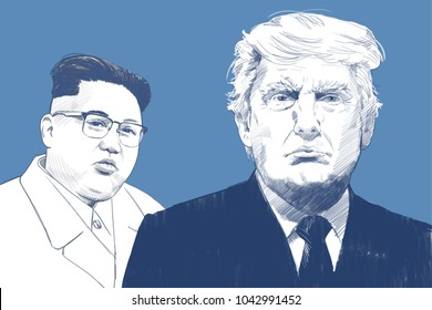 Donald Trump and Kim Jong-un. Portrait Drawing Illustration. March 11, 2018