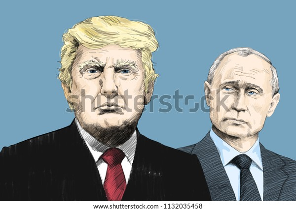 Donald Trump and Vladimir Putin. Portrait Drawing Illustration. July 11, 2018