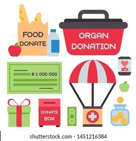 Donate money box set symbols help philanthropy donation contribution charity philanthropy humanity support .