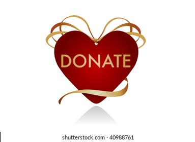 """Donations from the Heart. Gift icon in the shape of a heart. Intended to be used as a symbol for donor gifts. Could work well as a """"donate"""" button on a website as well."""