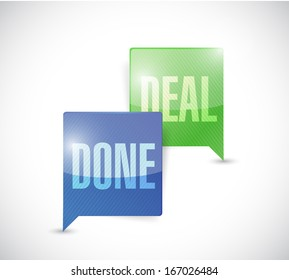 done deal business communication message bubbles illustration design over a white background