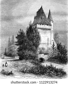 The Donjon of Saintines, in the department of Oise, vintage engraved illustration. Magasin Pittoresque 1855.
