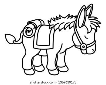 A donkey cute animal coloring cartoon character illustration