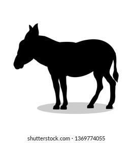 Donkey farm mammal black silhouette animal. JPG illustration.