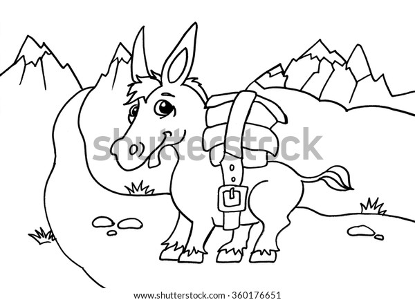 Donkey #3 (Animals) – Printable coloring pages | 437x600