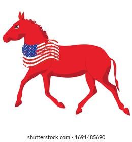 Donkey - political symbol of democrats - grunge usa flag  US political parties
