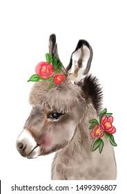 Donkey Print, Farm Animal Wall Art, Baby Donkey, Foal, Animal Print, Domestic Animals, Nursery Decor, Modern Wall Art, Kids Room Printable