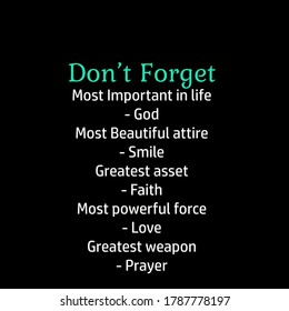 Don't Forget, Christian faith, Typography for print or use as poster, card, flyer or T Shirt