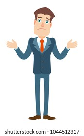 I don't know. Businessman shrugging his shoulders. Full length portrait of Cartoon Businessman Character. Raster illustration in a flat style.
