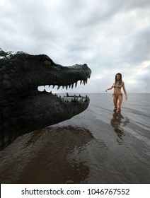 Don't swim alone,woman is face to face with a giant alligator in the water,3d rendering for book cover or book illustration