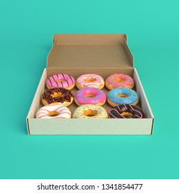 Donut box isolated on mint background 3d-illustration