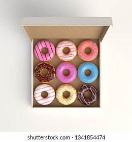 Donut box isolated on white background 3d-illustration top view