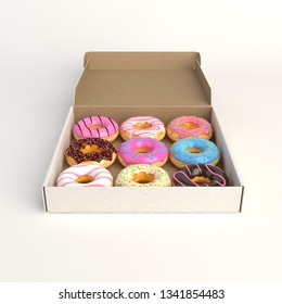 Donut box isolated on white background 3d-illustration