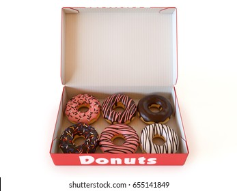Donut box isolated on white background 3d rendering