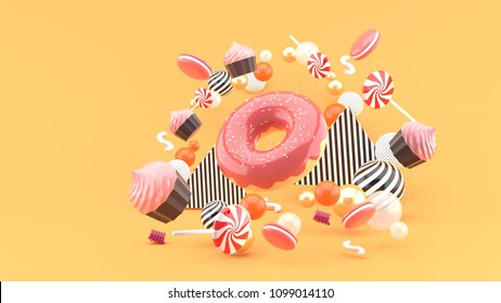 Donut ,Cupcakes ,Macaron,Candy floating among colorful balls on an orange background.-3d render.