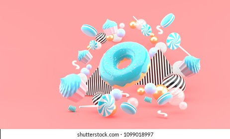 Donut ,Cupcakes ,Macaron,Candy floating among colorful balls on a pink background.-3d render.