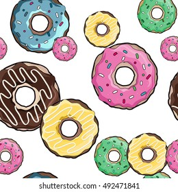 Donut pattern. A donut with pink icing. Donut on a white background. Donuts logo. Picture with donut. Blue Donut. Donut art. Restaurant menu booklet design. Donut Raster illustration.