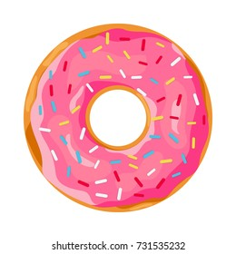 donut with pink glaze. donut icon, illustration in flat style Raster version