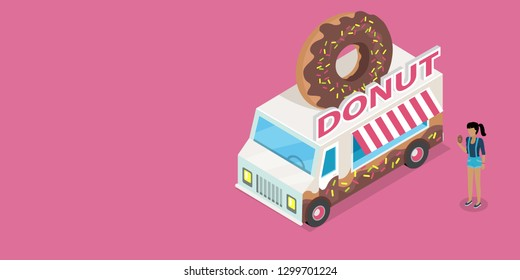 Donut web banner. Girl with donat in hand standing near eatery on wheels with big donut on roof isometric raster. Van food store with signboard. Illustration street cafe web page design