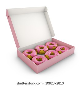 Donuts with pink icing in the box. 3d rendering.