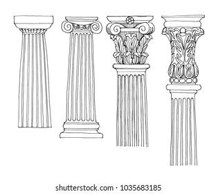 Doodle of ancient greek columns. Sketch of Greek Columns. Stylized Greek doodle column Doric Ionic Corinthian columns.