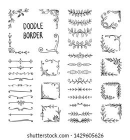Doodle border. Flower ornament frame, hand drawn decorative corner elements, floral sketch pattern.  doodle frame elements
