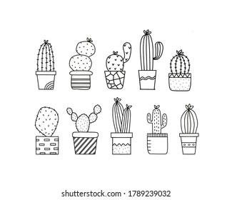 Doodle Cactus Clipart Digital, Cacti Clipart Succulent Doodle, Sucullent and Cactus Pattern, Doodle Cacti In Pots, Doodle Cactus Font