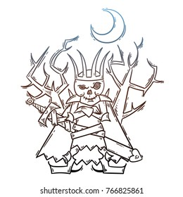 Doodle cartoon Russian Lich King. Koschey with sword and moon. Halloween raster illustration