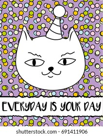Doodle Cat In Birthday Hat Modern Postcard Flyer Design Template Inspirational Motivational